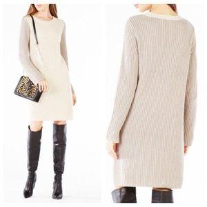 BCBGMAXAZRIA Oatmeal Combo Color-block Knit Dress